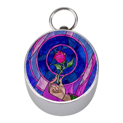 Enchanted Rose Stained Glass Mini Silver Compasses