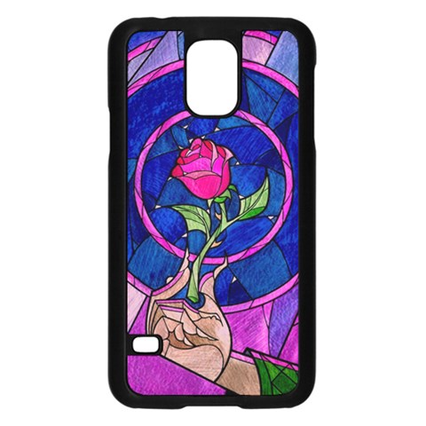 Enchanted Rose Stained Glass Samsung Galaxy S5 Case (Black)