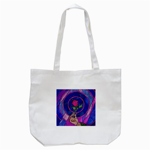 Enchanted Rose Stained Glass Tote Bag (White)