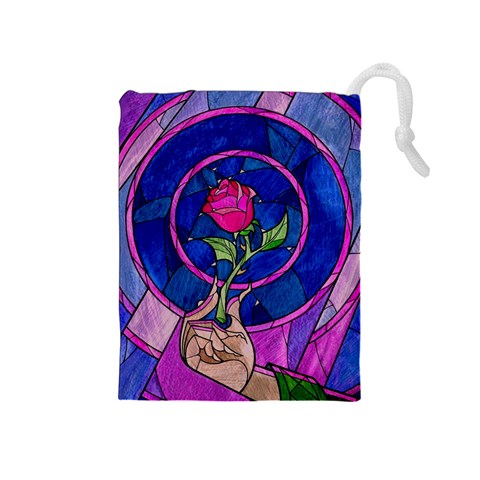 Enchanted Rose Stained Glass Drawstring Pouches (Medium)