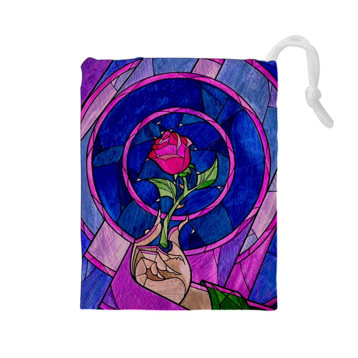 Enchanted Rose Stained Glass Drawstring Pouches (Large)