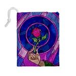 Enchanted Rose Stained Glass Drawstring Pouches (Large)  Back