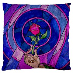 Enchanted Rose Stained Glass Large Flano Cushion Case (one Side)