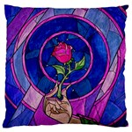 Enchanted Rose Stained Glass Large Flano Cushion Case (One Side) Front