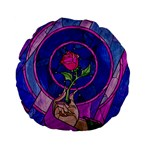 Enchanted Rose Stained Glass Standard 15  Premium Flano Round Cushions Back