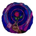 Enchanted Rose Stained Glass Large 18  Premium Flano Round Cushions Back