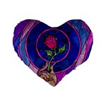 Enchanted Rose Stained Glass Standard 16  Premium Flano Heart Shape Cushions Front