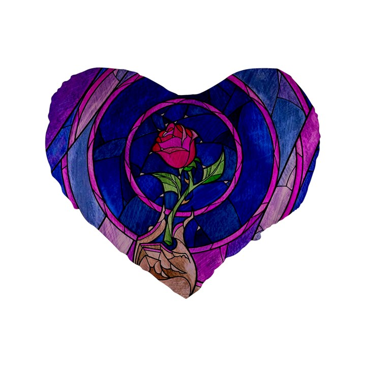 Enchanted Rose Stained Glass Standard 16  Premium Flano Heart Shape Cushions