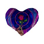 Enchanted Rose Stained Glass Standard 16  Premium Flano Heart Shape Cushions Back