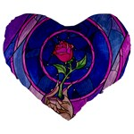 Enchanted Rose Stained Glass Large 19  Premium Flano Heart Shape Cushions Front
