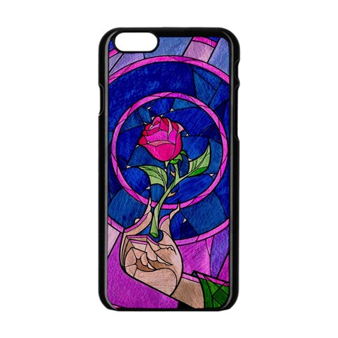 Enchanted Rose Stained Glass Apple iPhone 6/6S Black Enamel Case