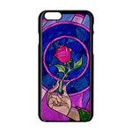 Enchanted Rose Stained Glass Apple iPhone 6/6S Black Enamel Case Front