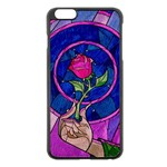 Enchanted Rose Stained Glass Apple iPhone 6 Plus/6S Plus Black Enamel Case Front
