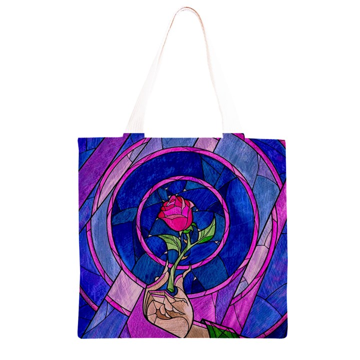 Enchanted Rose Stained Glass Grocery Light Tote Bag