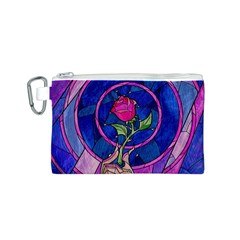 Enchanted Rose Stained Glass Canvas Cosmetic Bag (S)
