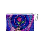 Enchanted Rose Stained Glass Canvas Cosmetic Bag (S) Back