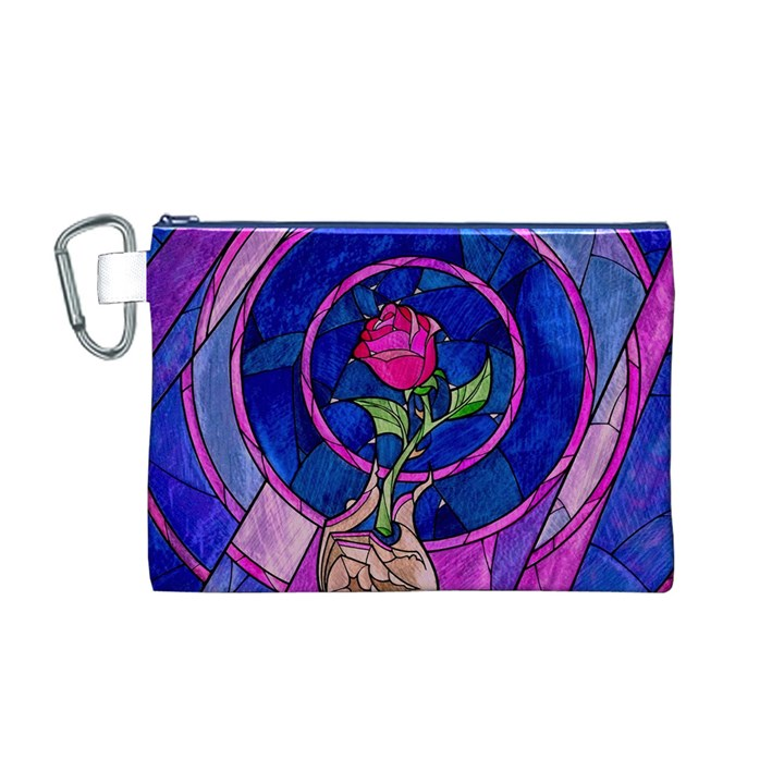 Enchanted Rose Stained Glass Canvas Cosmetic Bag (M)
