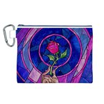 Enchanted Rose Stained Glass Canvas Cosmetic Bag (L) Front