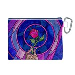 Enchanted Rose Stained Glass Canvas Cosmetic Bag (L) Back