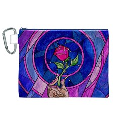 Enchanted Rose Stained Glass Canvas Cosmetic Bag (xl)