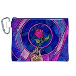 Enchanted Rose Stained Glass Canvas Cosmetic Bag (XL) Front