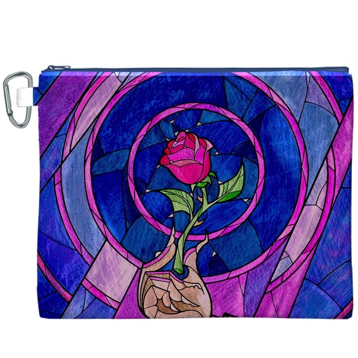 Enchanted Rose Stained Glass Canvas Cosmetic Bag (XXXL)