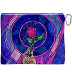 Enchanted Rose Stained Glass Canvas Cosmetic Bag (XXXL) Back