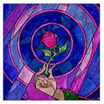 Enchanted Rose Stained Glass Large Satin Scarf (Square) Front