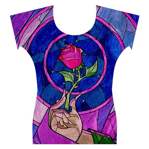 Enchanted Rose Stained Glass Women s Cap Sleeve Top