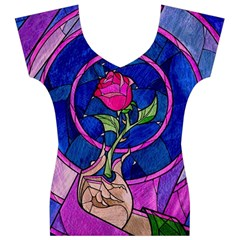Enchanted Rose Stained Glass Women s V-Neck Cap Sleeve Top