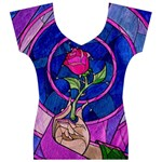 Enchanted Rose Stained Glass Women s V-Neck Cap Sleeve Top Front