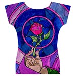 Enchanted Rose Stained Glass Women s V-Neck Cap Sleeve Top Back