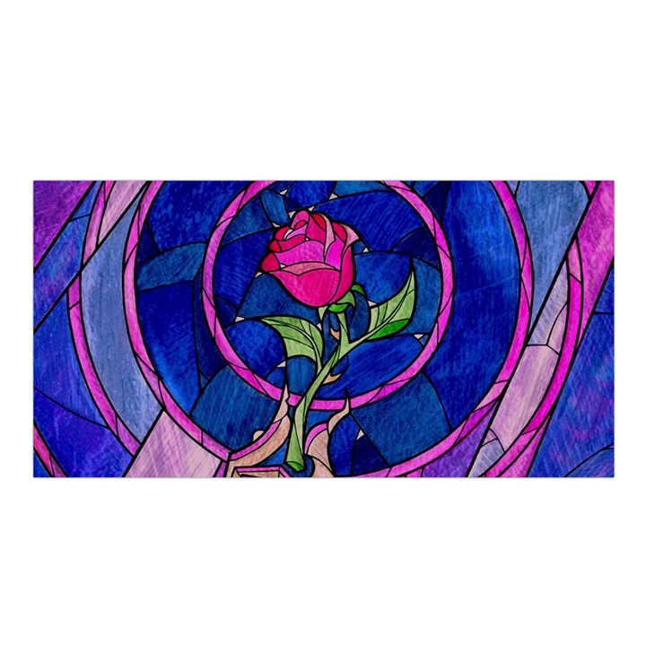 Enchanted Rose Stained Glass Satin Shawl