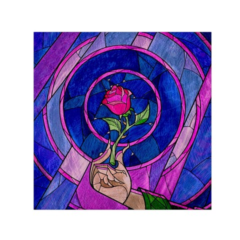 Enchanted Rose Stained Glass Small Satin Scarf (Square)