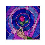 Enchanted Rose Stained Glass Small Satin Scarf (Square) Front