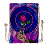 Enchanted Rose Stained Glass Drawstring Bag (Large) Front