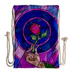 Enchanted Rose Stained Glass Drawstring Bag (Large) Back