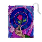 Enchanted Rose Stained Glass Drawstring Pouches (Extra Large) Front