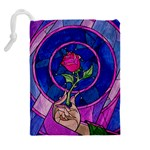 Enchanted Rose Stained Glass Drawstring Pouches (Extra Large) Back