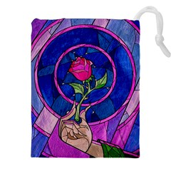 Enchanted Rose Stained Glass Drawstring Pouches (XXL)