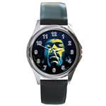 Gabz Jimi Hendrix Voodoo Child Poster Release From Dark Hall Mansion Round Metal Watch Front