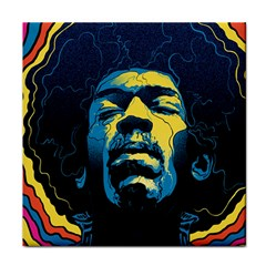 Gabz Jimi Hendrix Voodoo Child Poster Release From Dark Hall Mansion Tile Coasters
