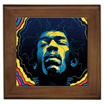Gabz Jimi Hendrix Voodoo Child Poster Release From Dark Hall Mansion Framed Tiles Front