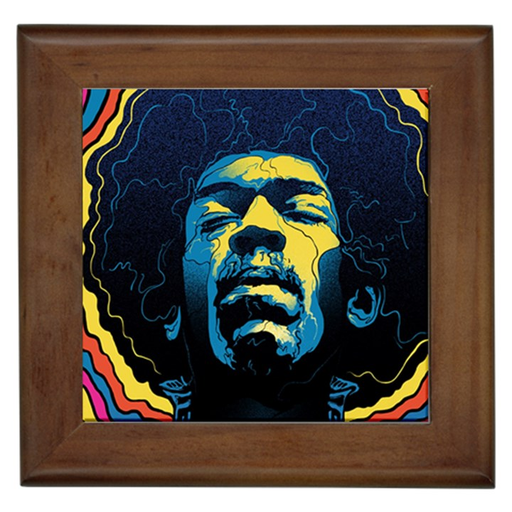 Gabz Jimi Hendrix Voodoo Child Poster Release From Dark Hall Mansion Framed Tiles