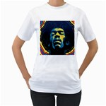 Gabz Jimi Hendrix Voodoo Child Poster Release From Dark Hall Mansion Women s T-Shirt (White) (Two Sided) Front