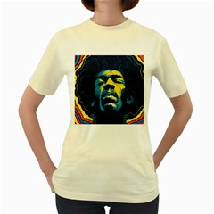 Gabz Jimi Hendrix Voodoo Child Poster Release From Dark Hall Mansion Women s Yellow T Shirt