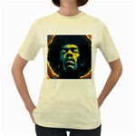 Gabz Jimi Hendrix Voodoo Child Poster Release From Dark Hall Mansion Women s Yellow T-Shirt Front