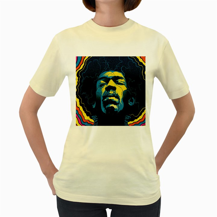 Gabz Jimi Hendrix Voodoo Child Poster Release From Dark Hall Mansion Women s Yellow T-Shirt