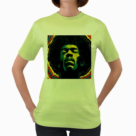 Gabz Jimi Hendrix Voodoo Child Poster Release From Dark Hall Mansion Women s Green T-Shirt