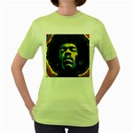 Gabz Jimi Hendrix Voodoo Child Poster Release From Dark Hall Mansion Women s Green T-Shirt Front
